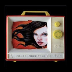Ken Keirns makes incredible use of 60's Fisher Price TVs as frames for his paintings