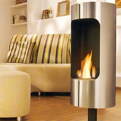 The latest stainless fireplace from Blomus, Chimo Fireplace, requires no chimney, and burns clean ethanol fuel. It's designed to sit in the middle of your room and can be rotated to face any angle.