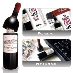 "Wine Bottle USB Drive ~ ""Open Cellar, gestion de cave à vin - Software that manages your wine collection perfectly and allows you to access it up even when you aren't at home !"""