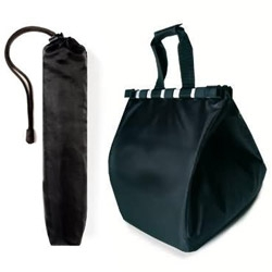 Easy Shopping Bag ~ not AS compact as many we've seen but an interesting shift of priorities when grocery shopping. You can use this one easily WHILE shopping, not just to carry it home