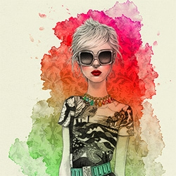 Leesa Levs has some great colorful watercolors of urban hipsters