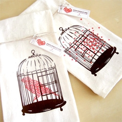 Let the birds fly free ~ i'm absolutely loving these screen printed kitchen towels... the bird made of a flock of birds is just awesome. by 3p-3