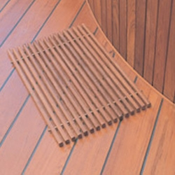 "Wood bath mats feel so nice when you step out of the shower ~ here's a great teak/steel one - 23""L x 15.5""W x 1""H"
