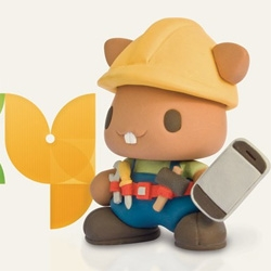 Great, playful, logo and mascot for Poky by Tak! More companies should use clay figures as mascots...