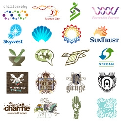 Logo Lounge has a great roundup of Logo Trends of 2007 ~ like dna, crests, flora, eco, bursts, bands, shrinking dots...