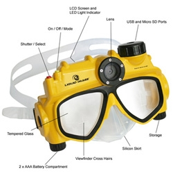 Liquid Image ~ digital camera for stills and vids built into a diving mask for all your handsfree underwater imaging needs. Can you imagine the other possibilities? I came up with a few.......