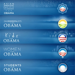 "As far as campaigns go ~ obama sure has quite the group of designers (or designer supporters with free time?) ~ apparently he has a DIFFERENT logo for every ""type""... and every state as well..."