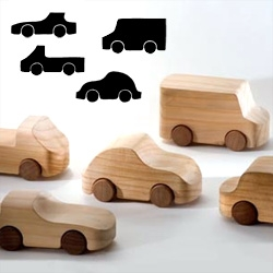 Handmade from a single block of cedar ~ and wheels from mahogany... love these italian toy cars by To Be Us