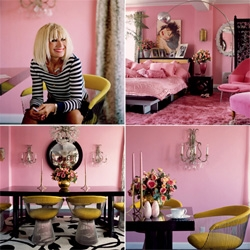 For those curious on how designers live... betsey johnson's PINK apartment is extremely pink, but in an awesome livable combination of modern and vintage pieces.