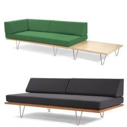 Furniture lust objects of the day ~ Modernica's Day Beds ... with no, 1, and 2 arms... and side tables! In quite the range of colors and materials