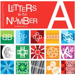 "Mark Gonyea's ""Letters by the Number"", an alphabet card set (& posters) that use the numerical position of a letter as a base for design. 1A, 2Bs..."