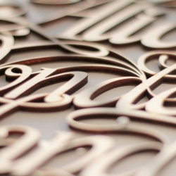 Beautiful laser cut wooden lettering from Paris based Future Marquetry.