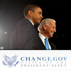 "Obama's new site Change.gov has finally launched! ""Throughout the Presidential Transition Project, this website will be your source for the latest news, events, and announcements so that you can follow the setting up of the Obama Administration."""
