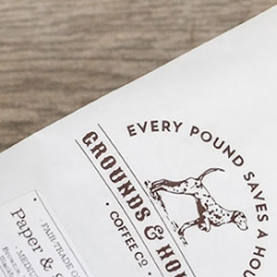 Grounds & Hounds Coffee Co use the funds raised from their fair trade organic coffees to support rescue organizations. Every pound saves a hound.