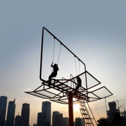 Architect Didier Faustino created this epic swing set out of a converted advertising billboard for the Shenzhen/Hong Kong Bi-City Biennial of Urbanism and Architecture.