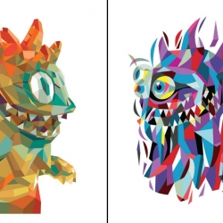 "As part of the TxT Project at Stitch in Japan, Tim Biskup has created a set of two digital offset ""Rangeas"" prints. Each are signed & numbered and limited to only 100 and will be available individually or as a set. They go on sale at noon, 1/29."