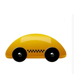 Adorable streamliner yellow taxi from Playsam.