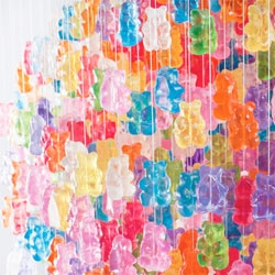 Kevin Champeny's 'Candelier' for Jellio has just over 3000 hand cast acrylic GummiBears.