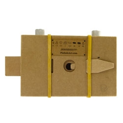 A cardboard and paper pinhole camera designed by Gangwoo Park.