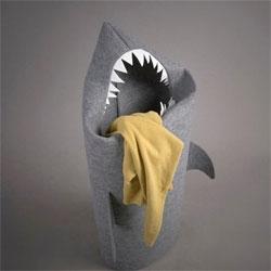 Cute Shark Teeth laundry hamper from Jolanta Uczarczyk.