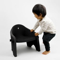 The Owl Chair by h220430 for kindergarteners, made from single thick sheet of EVA, a foam rubber-like polymer.