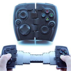 The PhoneJoy Play is a holster for phone gaming with two holdable halves can spread sideways, connected by a telescoping mechanism.
