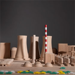 Critical Blocks, Maykel Roovers' beautiful toy models of nuclear power plants and factory farms.