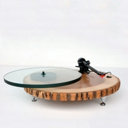 Audiowood's Barky is a precision turntable from a Rega parts kit with a solid ash round.