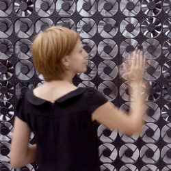 Daan Roosegaarde's Flow 5.0, a smart wall made out of hundreds of ventilators which reacts on your sound and motion.