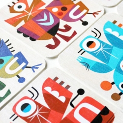 Beermat Characters, a design project by Inkygoodness on show at the Coningsby Gallery.