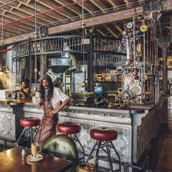Amazing steampunk themed Truth Coffee Shop in Cape Town, South Africa designed by Heldane Martin.