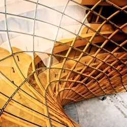 A gigantic golden chasm welcomes visitors to the Emporia shopping centre in Malmö by Swedish architects Wingårdhs.