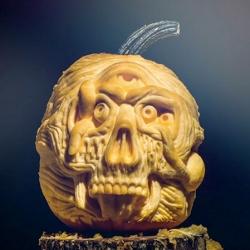A stop motion pumpkin lobotomy by pumpkin carver Chris Soria, illustrator Jason Smith and Joe Vaughn.