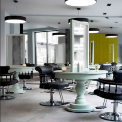 Gorgeous interiors of the Inch Hair Salon in Apa, Oslo, Norway by Vigdis A. Bergh, from Inne Design.