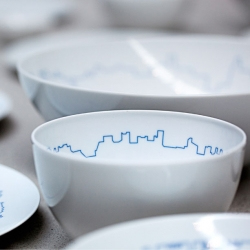 The TAC tableware set from BIG and Kilo for Rosenthal featuring the skylines of major cities.