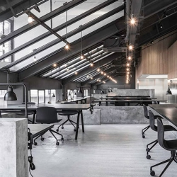 The Attic, gorgeous offices of Flamingo Shanghai, by Neri&Hu.