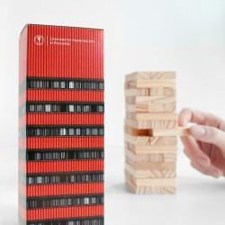 Zupagrafika's modern packaging for jenga using the Poznan University of Economics' Collegium Altum tower.