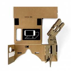 Cardboard, a no-frills enclosure that transforms a phone into a basic virtual reality headset.