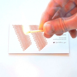 A business card that can start a fire for events company Wildfire, designed by Cossette.