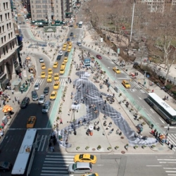 French artist JR creates a walker in New York City for the New York Times magazine.