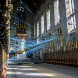 Ci-Lines, an installation by Aaron Asis in the St Andrew's Collegiate Chapel in Philadelphia.