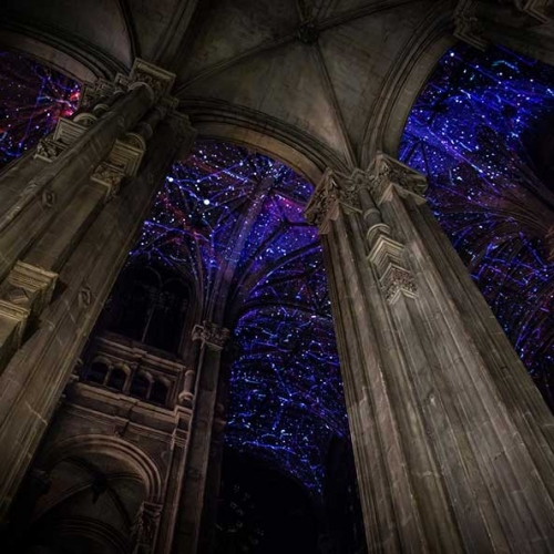 Voûtes Célestes by Miguel Chevalier projected onto the ceiling of Saint-Eustache Church in Paris.