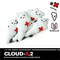 "ByteDust has Environmentally Conscious Cuddle Cloud: CLOUD-X.2?  ""The red sign on the clouds chest (the place where the heart belongs to be) stands for Toxicity and Pain."""