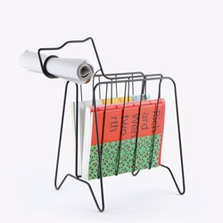 Gvin Coyle's Companion Rack fits one rolled newspaper in its snout, with generous space for magazines in its body.