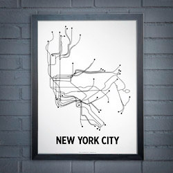 Lineposters capture city maps with simple lines.
