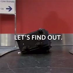 Delta Airlines finds out where your bags go after they pass through those black rubber flaps at the airport, mounting 6 cameras in a bag to track its journey.