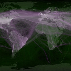 World travel and communications recorded on Twitter captured by Eric Fischer.