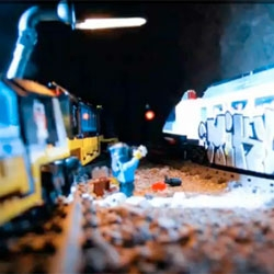 Stop motion LEGO graffiti.