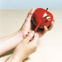 Apple shaped pencil sharpener from rabbithole.