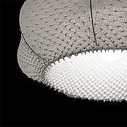 Lamp shades created from handmade fabrics. Suzusan by Arimatus Shibori.